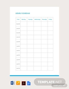 Free Blank Hourly Schedule Format