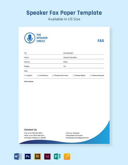 Speaker Fax Paper Template