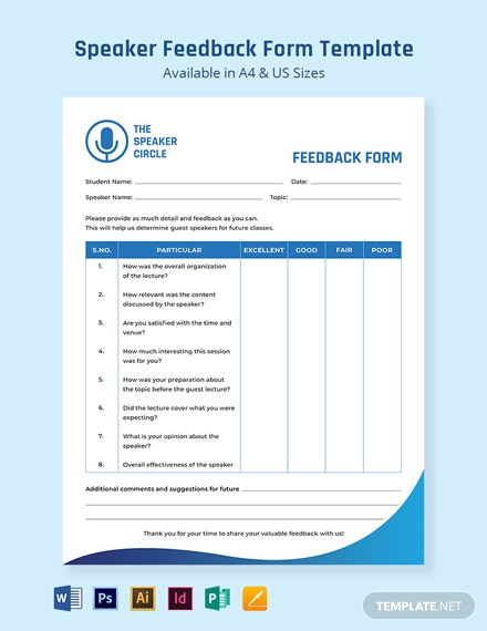 Speaker Feedback Form Template