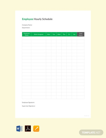 20 free hourly schedule templates download ready made template net