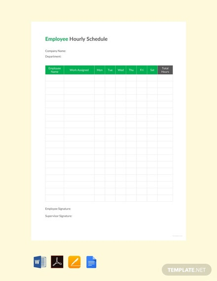 Employee Hourly Schedule Template