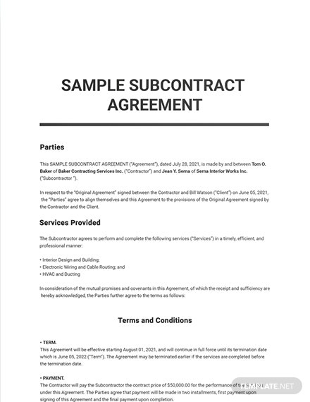 Free Sample Subcontract Agreement Template