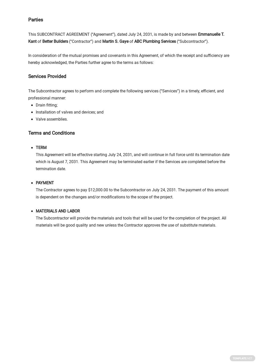 Free Basic Subcontract Agreement Template 1.jpe