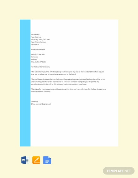 Free Board Resignation Letter Template