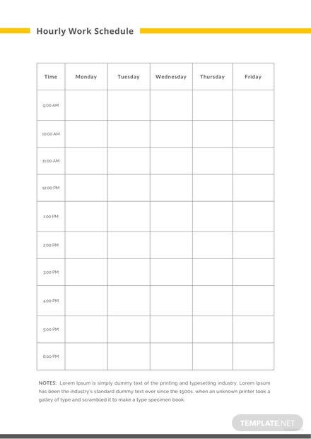 Hourly Work Schedule Template