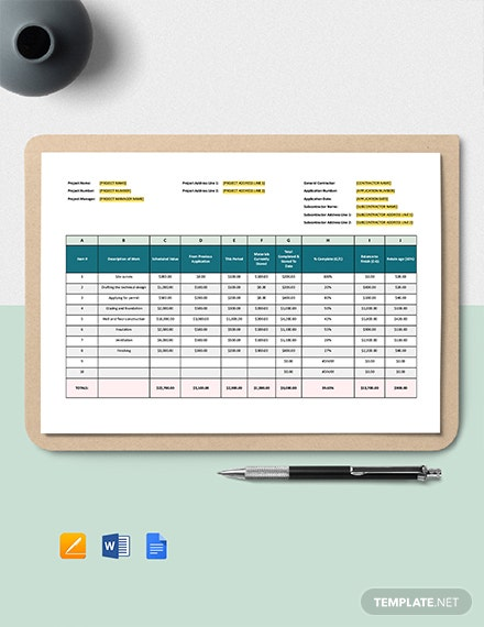 Small Construction Schedule of Values Template