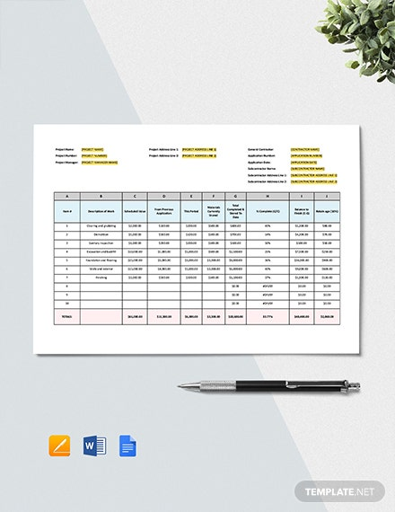 Schedule of Values Construction Template