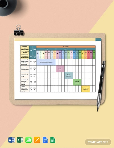 Three-Week Construction Schedule Template