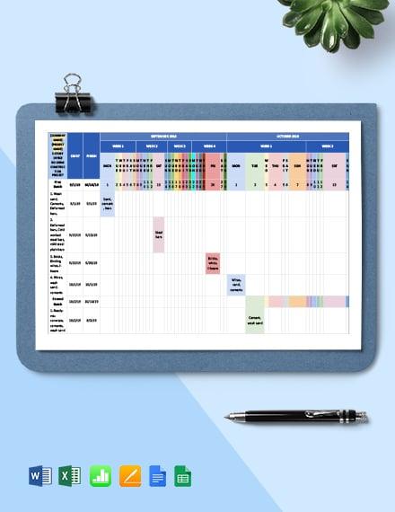 Construction Materials Schedule Template