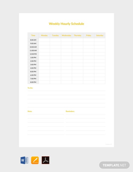 Free Weekly Hourly Schedule Template