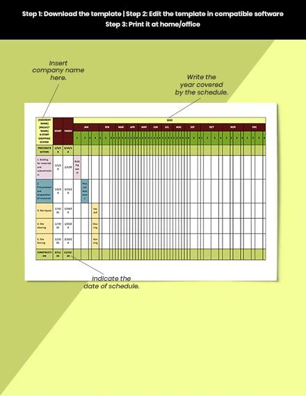 Construction Job Schedule Format
