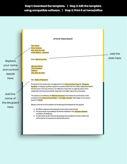 Tender Enquiry letter format