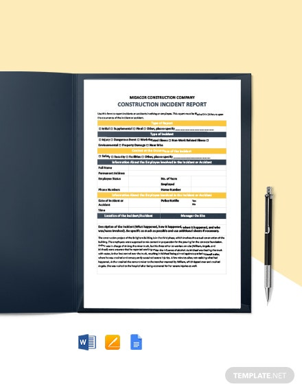 Construction Final Incident Report Template