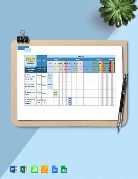 Construction Change Management Schedule