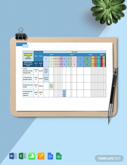 Construction Change Management Schedule Template