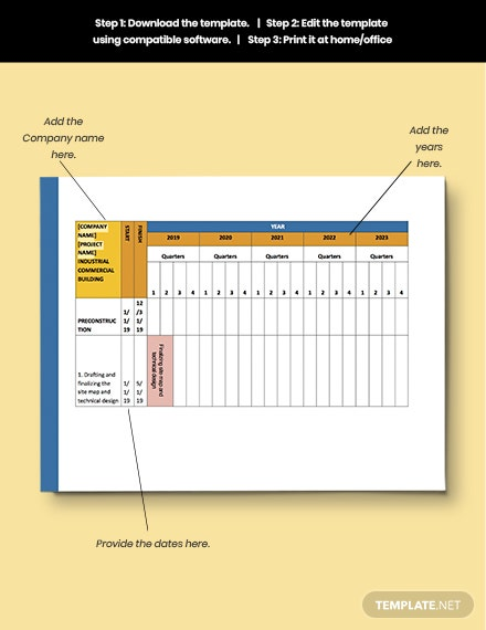 Construction Annual Schedule format