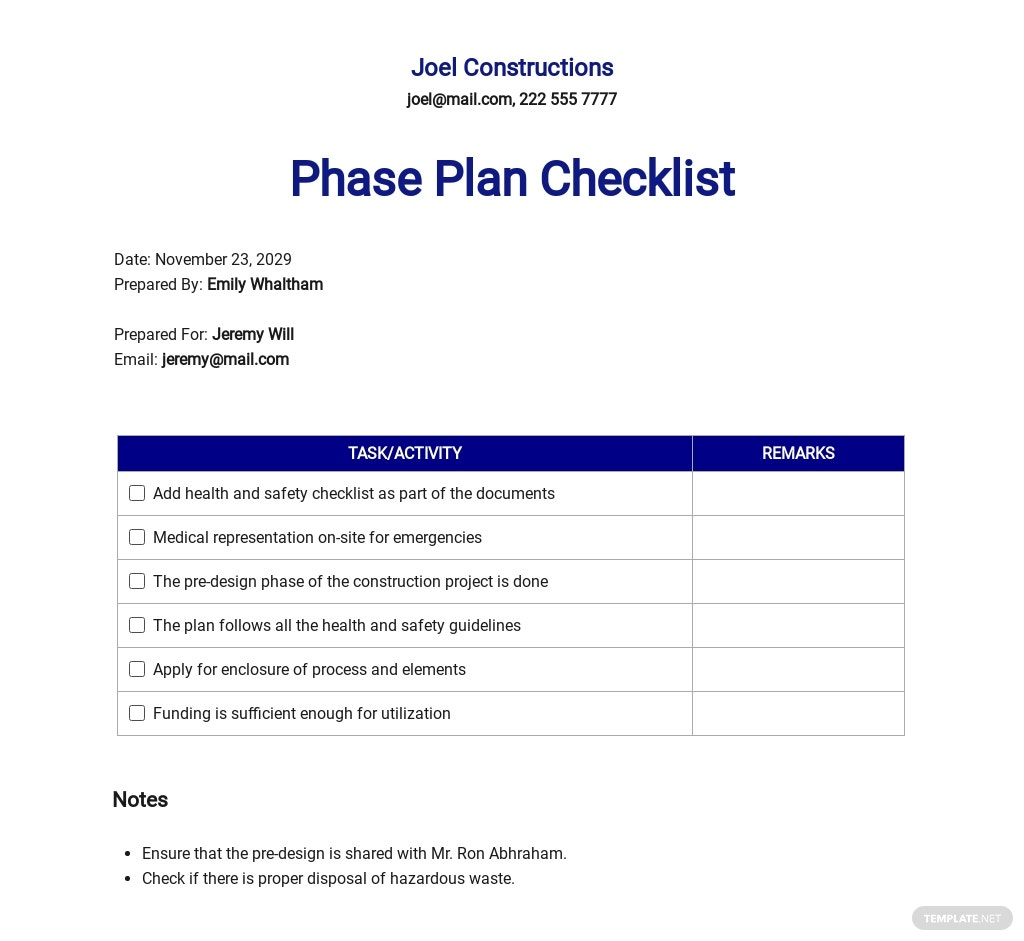 Construction Phase Plan Checklist Template