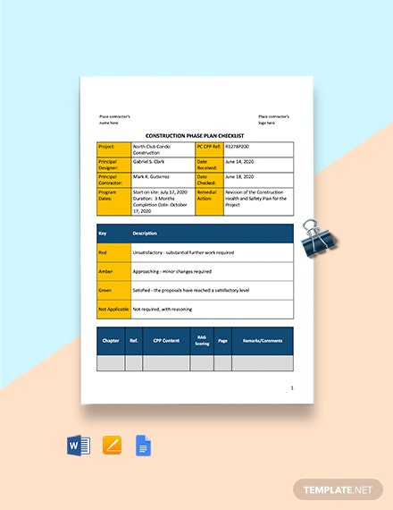 Construction Phase Plan Checklist