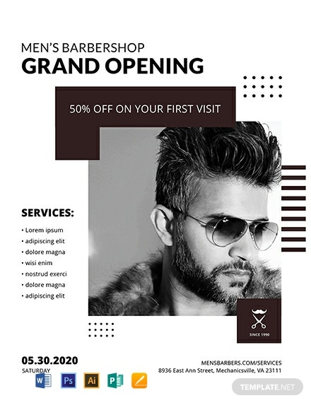 Free Barbershop Grand Opening Flyer Template