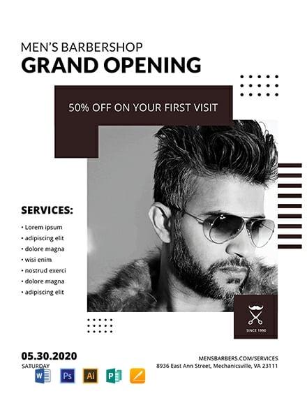 Free Barbershop Grand Opening Flyer Template