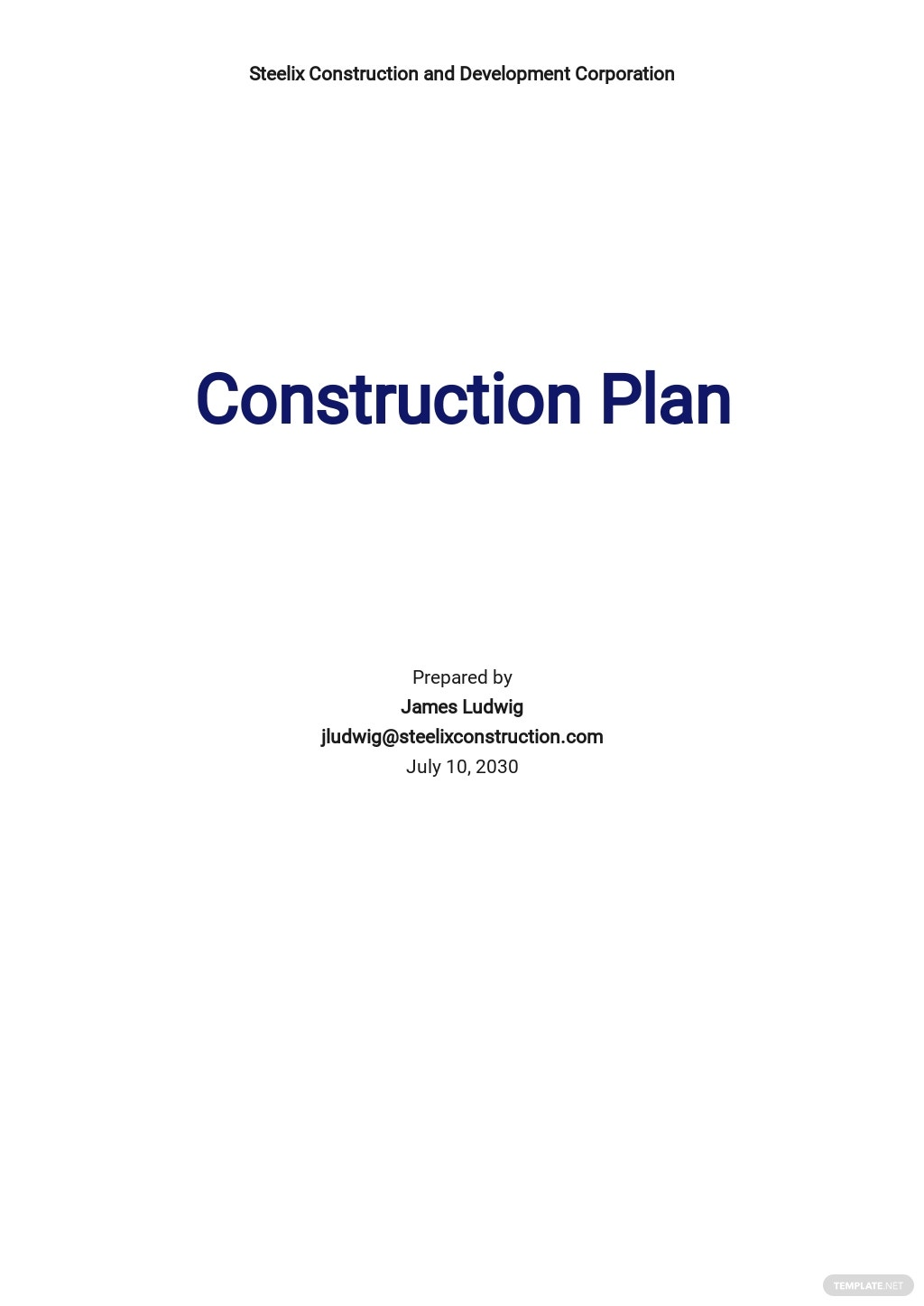 Basic Construction Plan Template