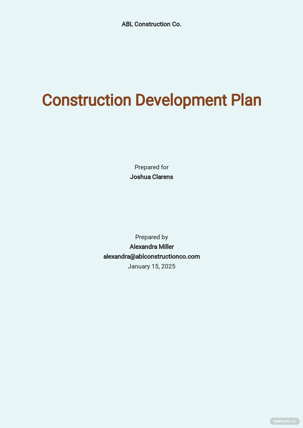 Simple Construction Plan Template