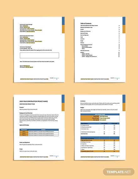 simple construction plan format