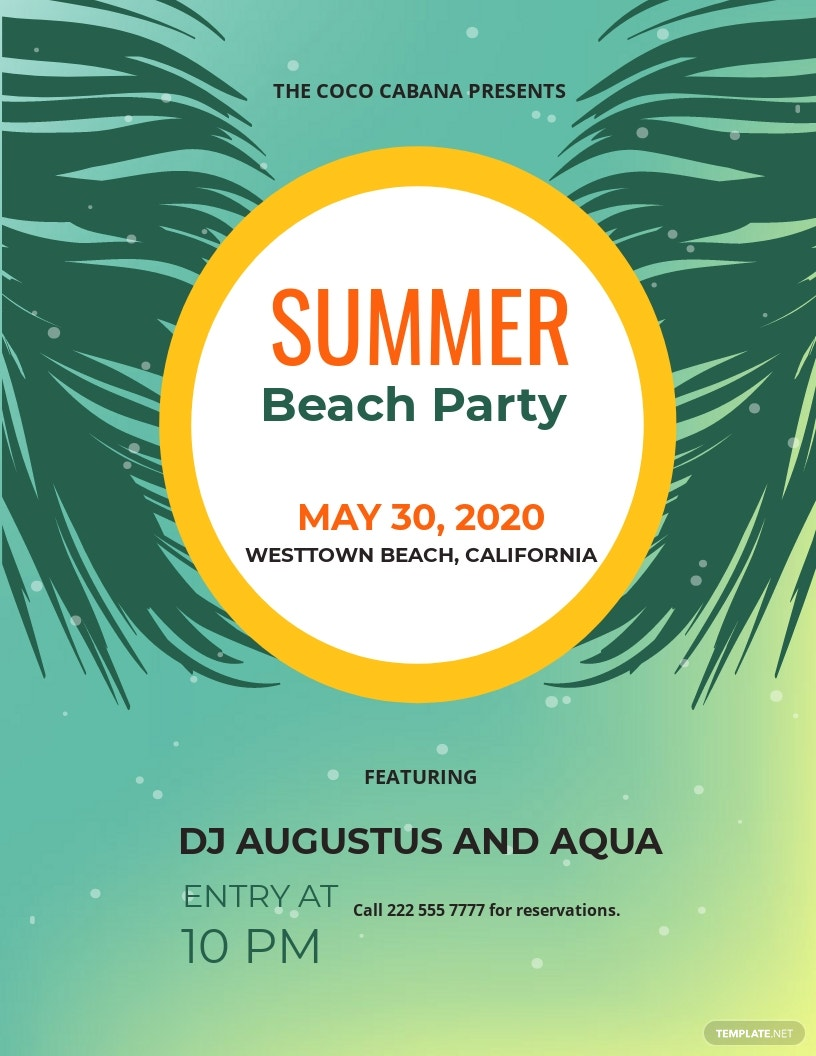 Beach Party Flyer Sample Template.jpe