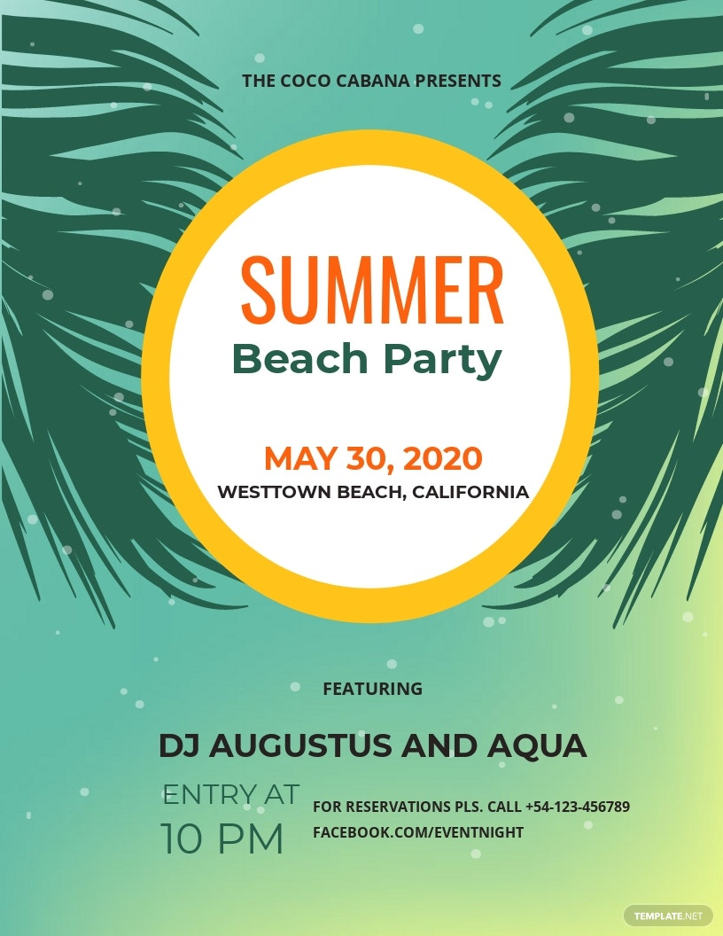Beach Party Flyer Sample