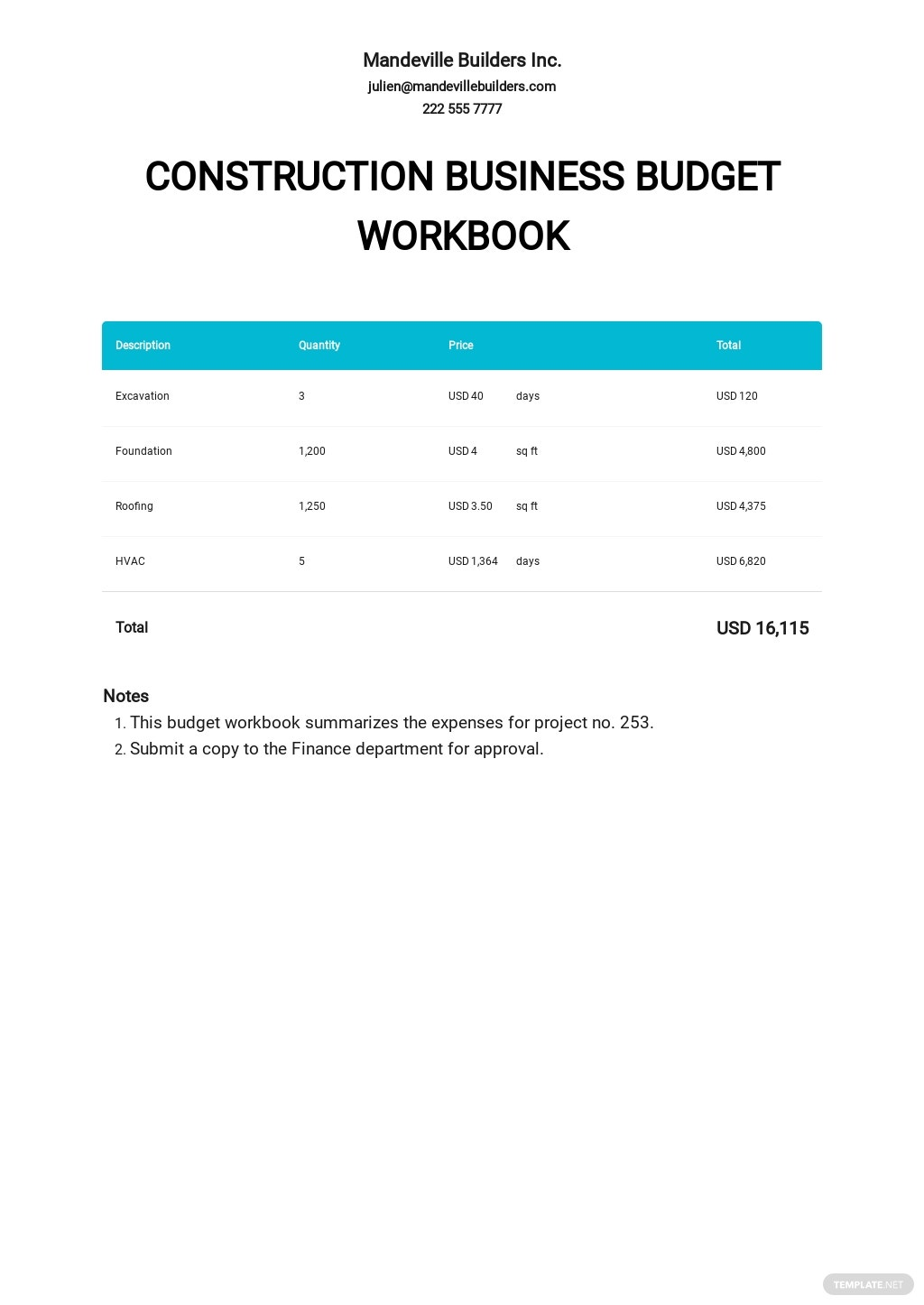 Construction Business Budget Workbook Template