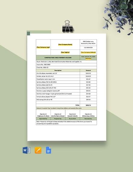 Construction Check Payment Voucher Template