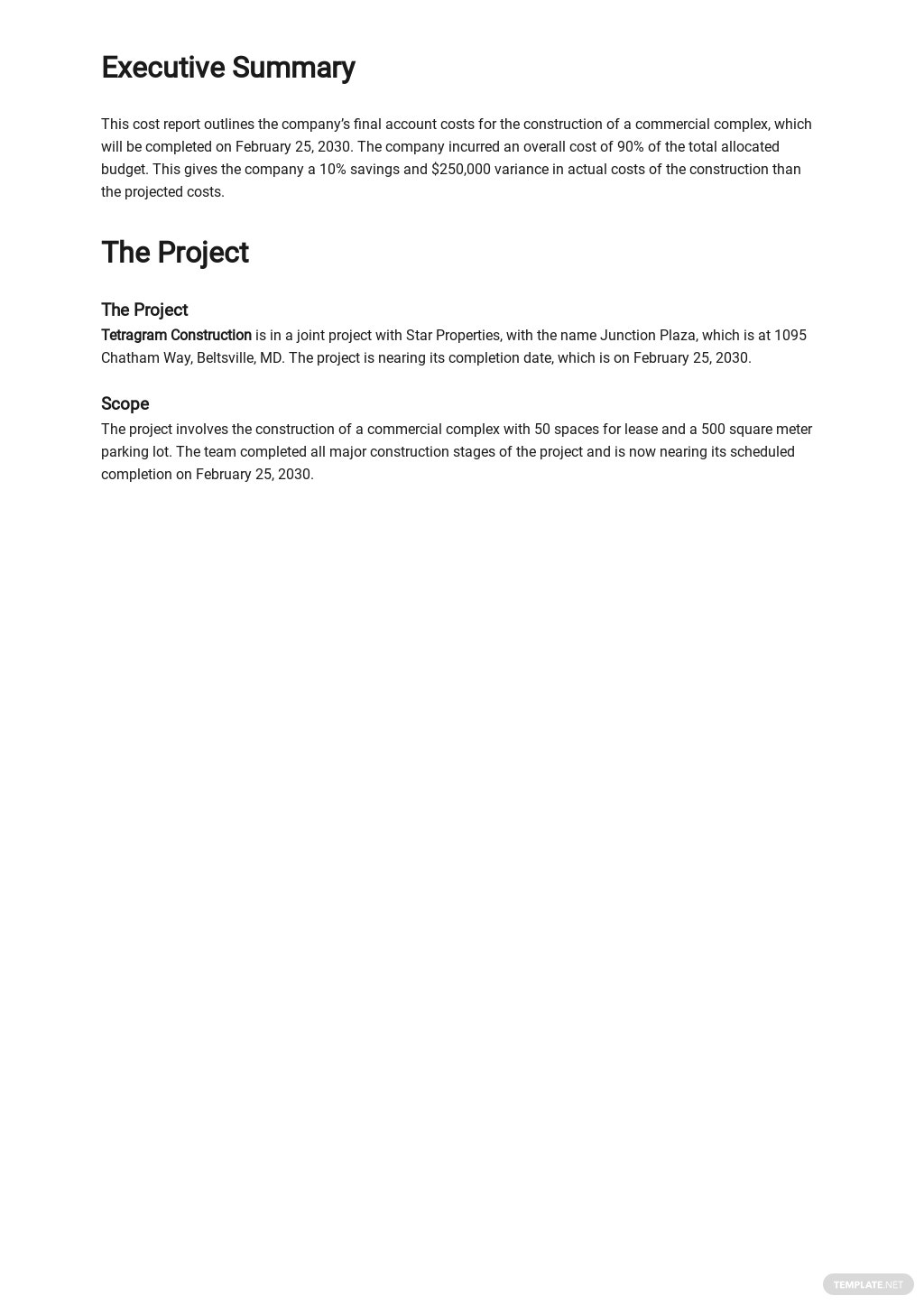 Construction Final Account Cost Report Template 1.jpe