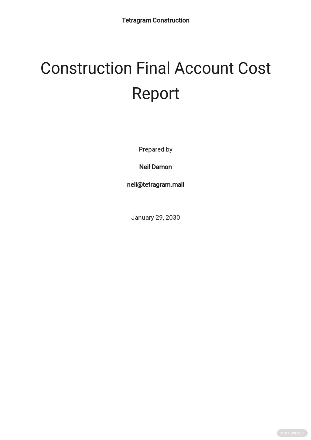 Construction Final Account Cost Report Template