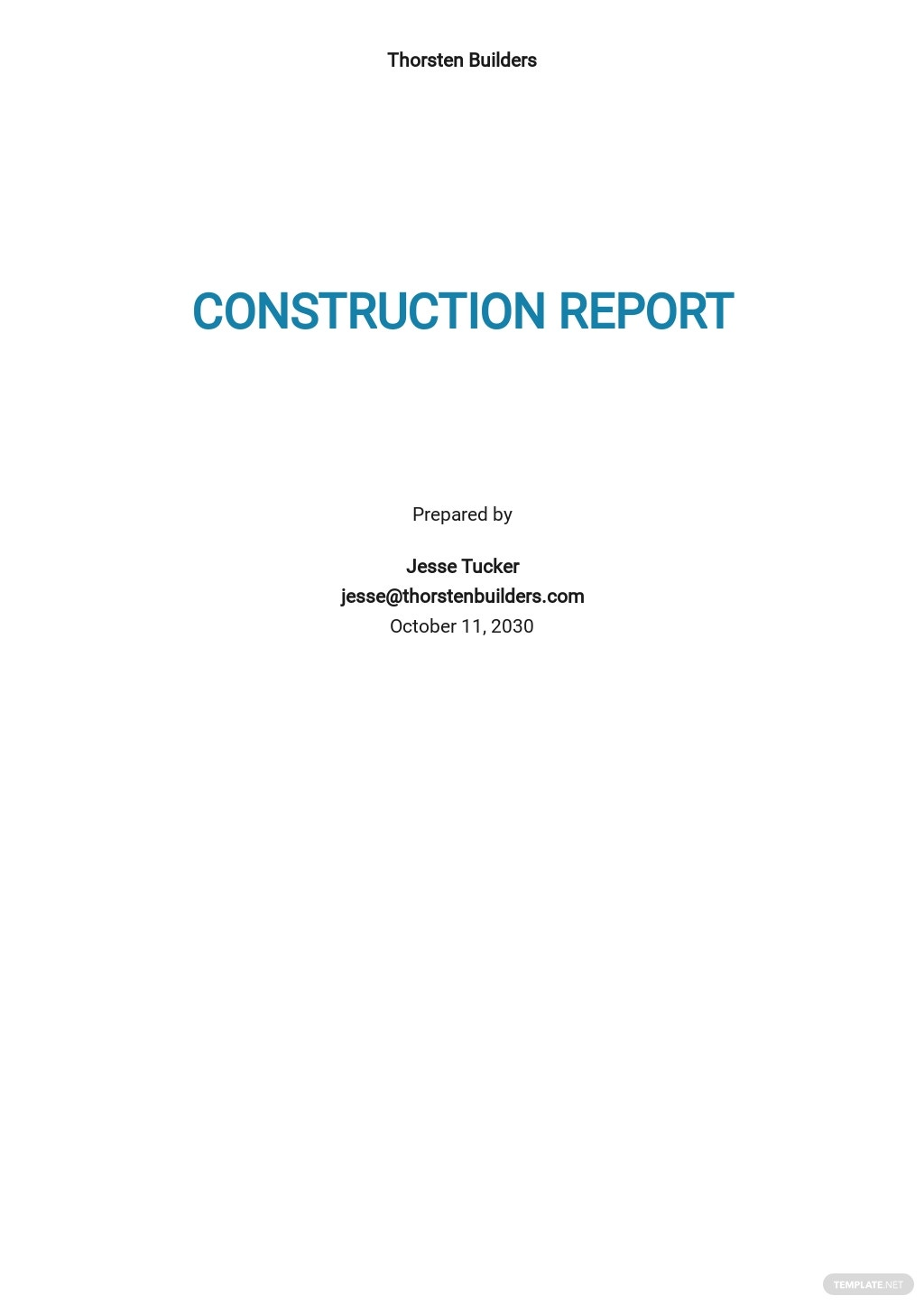 Sample Construction Report Template