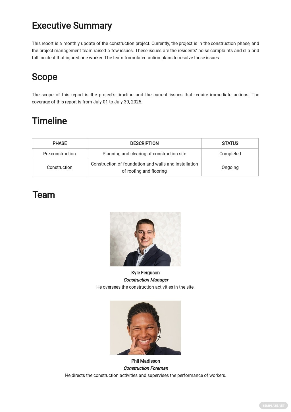 Free Simple Construction Report Template 1.jpe