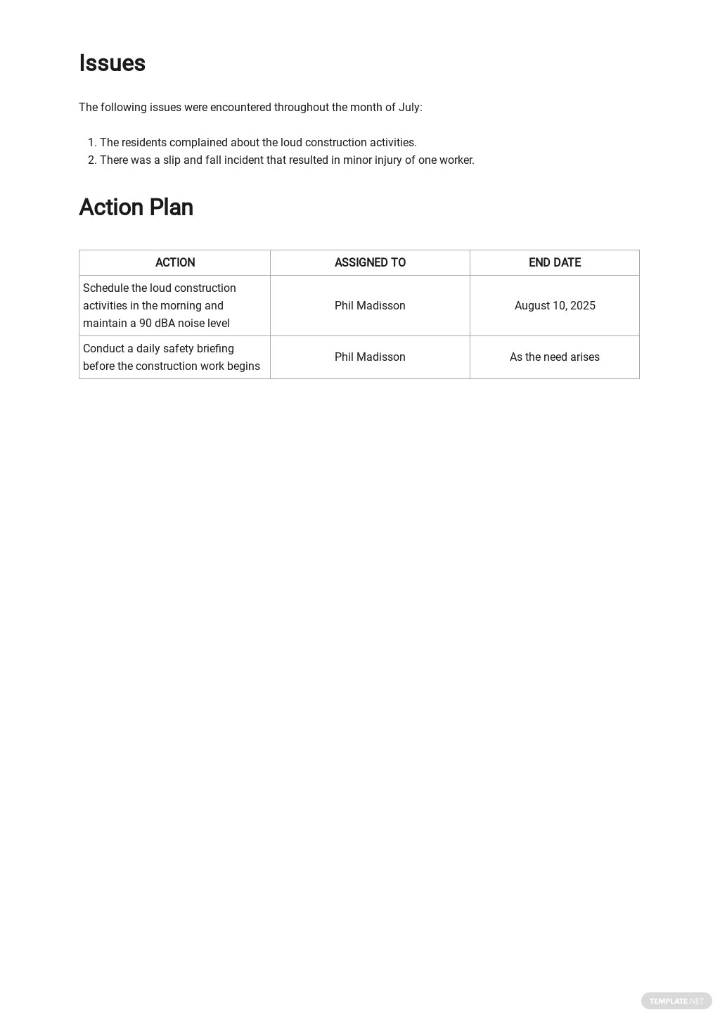 Free Simple Construction Report Template 2.jpe