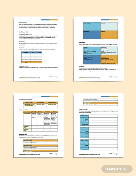 free general construction business plan sample