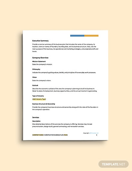free general construction business plan template
