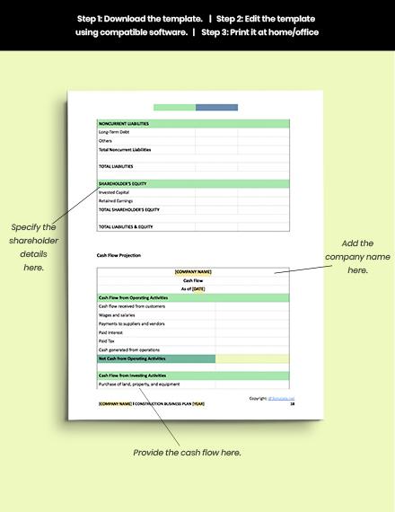 free sample construction business plan editable