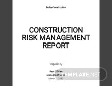 Construction Risk Management Report Template
