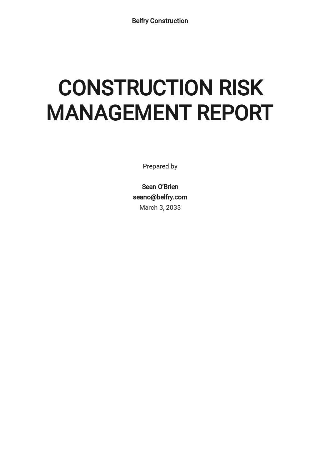 Construction Risk Management Report Template