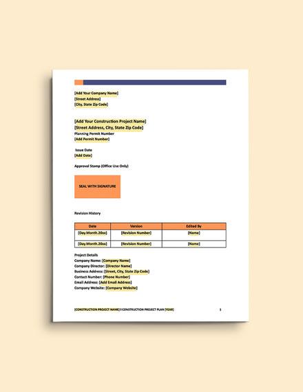 Construction Change Management Plan Template