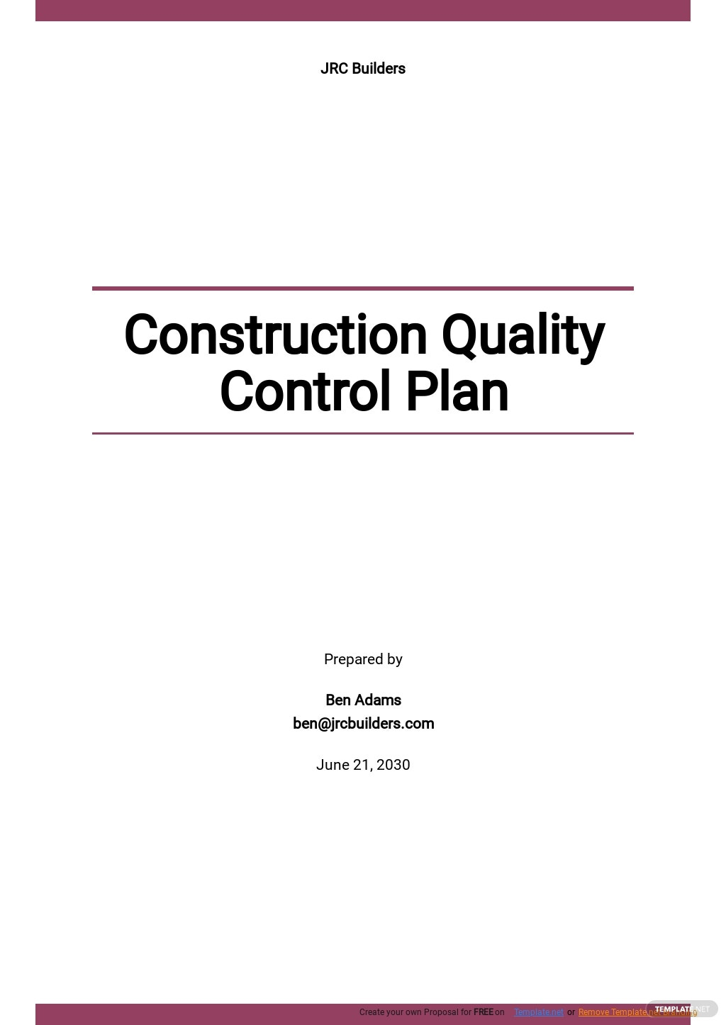 Construction Quality Control Plan Template
