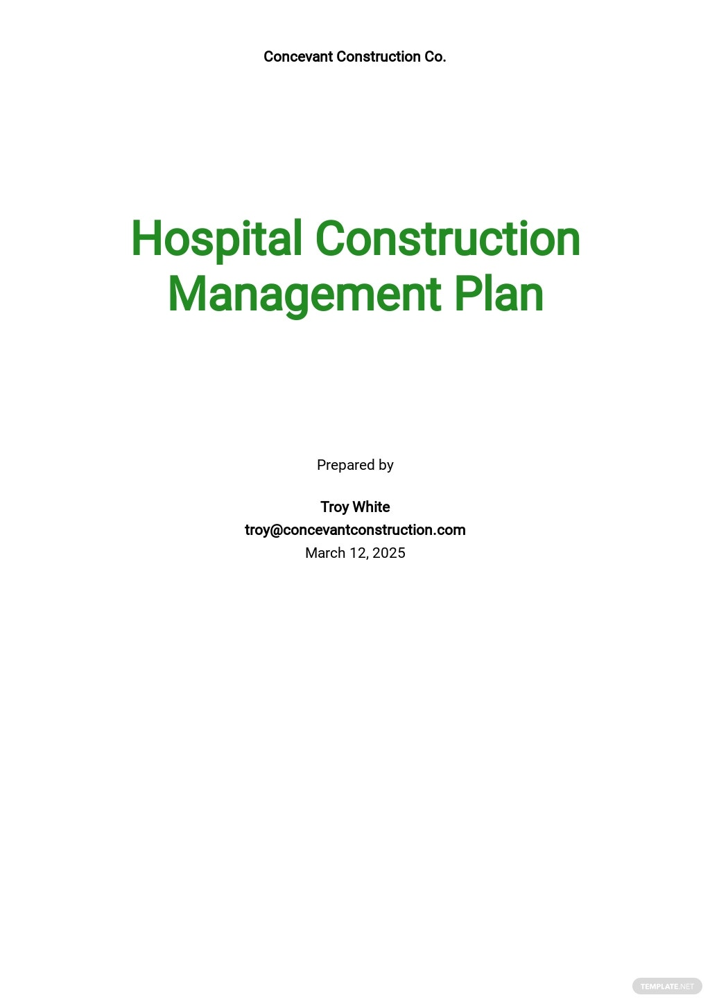 Hospital Construction Management Plan Template