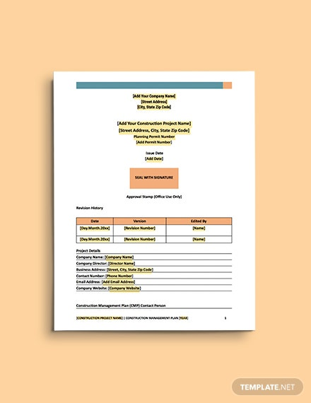 Construction Safety  Environment Management Plan Template
