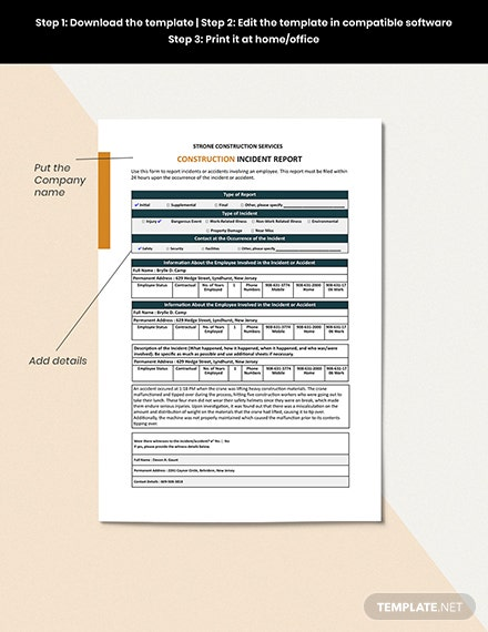 Investigation Report Template Editable