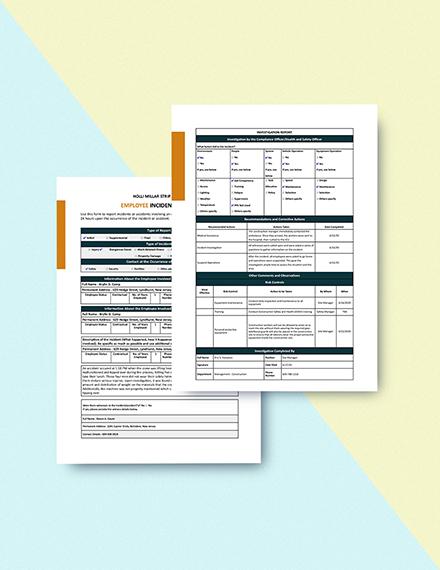 Construction Employee Incident Report Sample