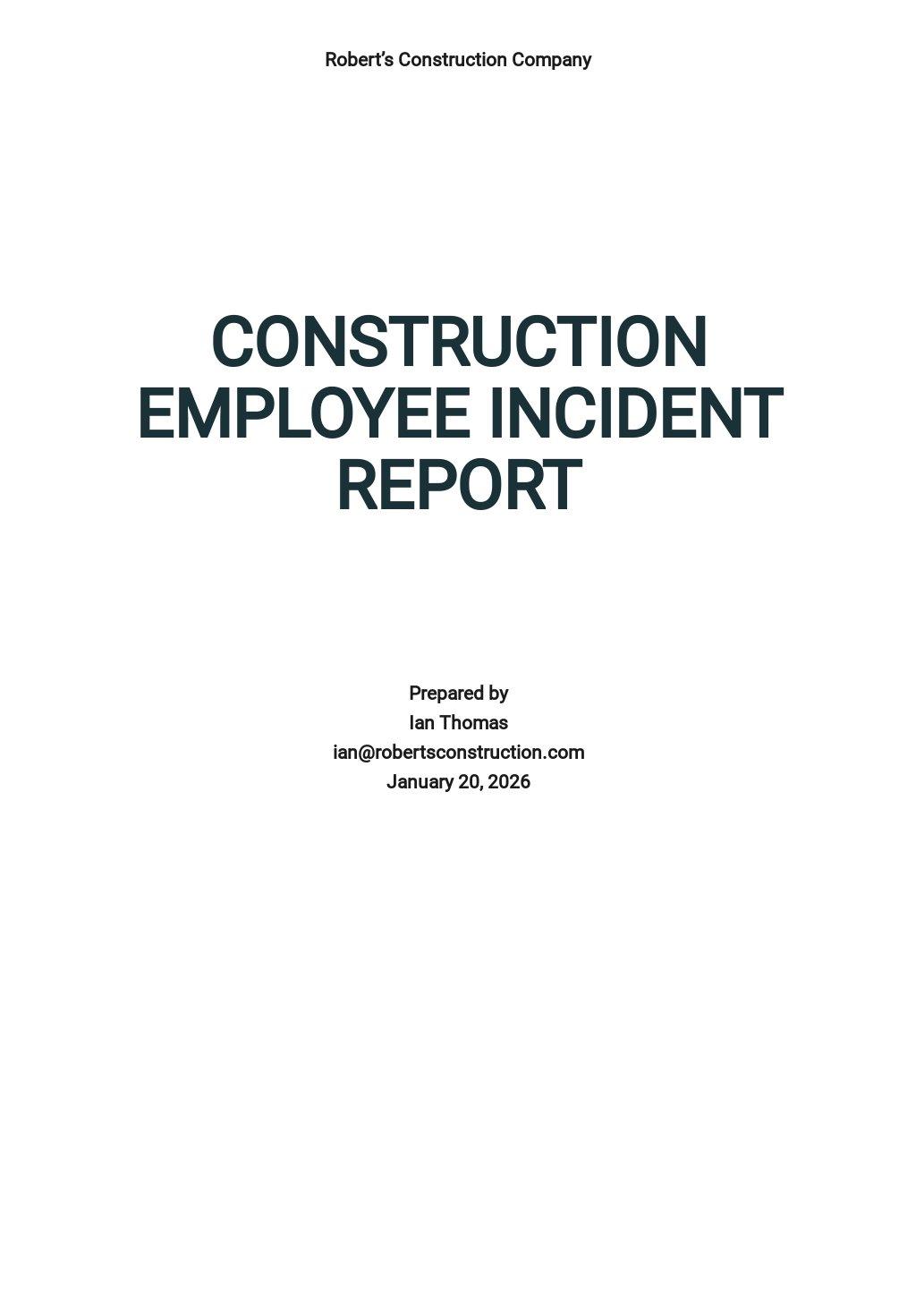 Construction Employee Incident Report Template