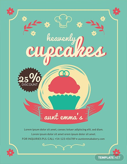 free cupcake bakery flyer template  download 679  flyers