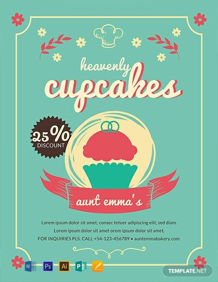 free cupcake bakery flyer template